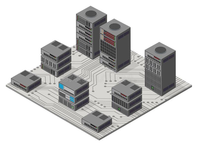 Isometric 3D ustalona sieć royalty ilustracja