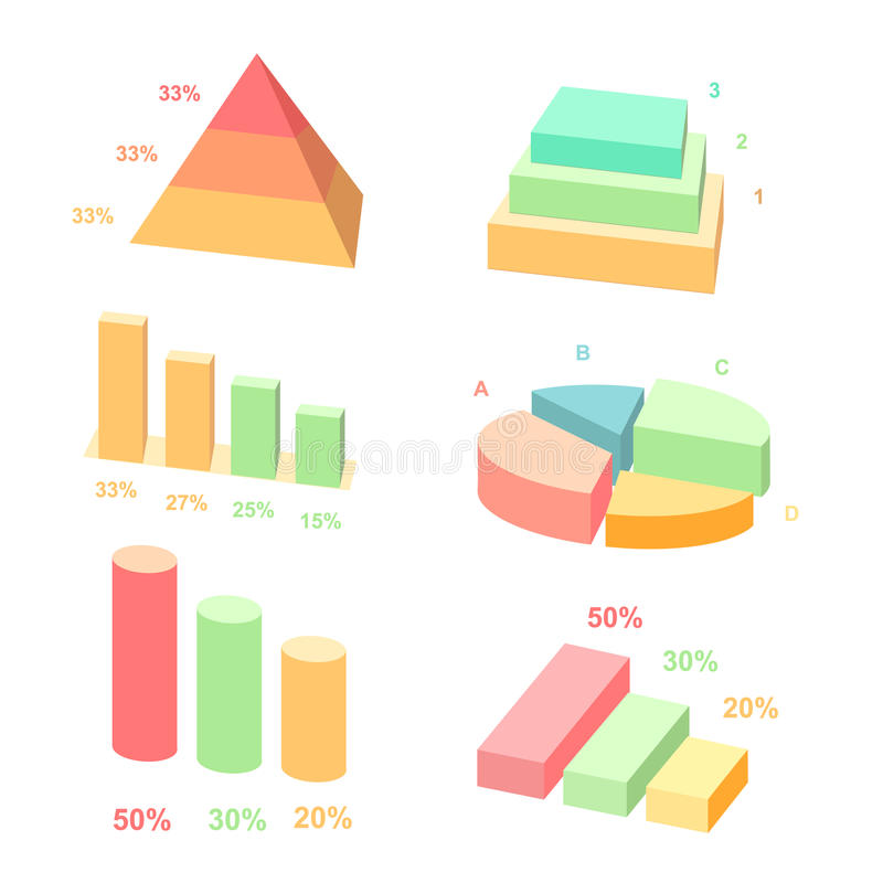 Isometric 3d vector charts. layers graphs and vector illustration