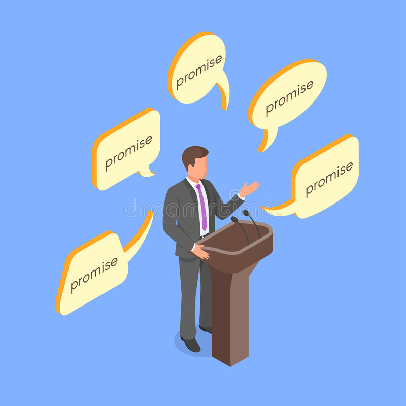 Isometric 3d vector concept of politician giving empty promises. royalty free illustration