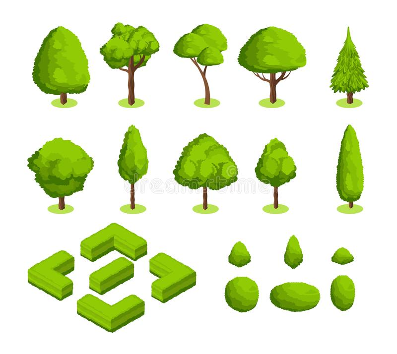 Isometric 3d vector park and garden trees and bushes. Green forest plants collection royalty free illustration