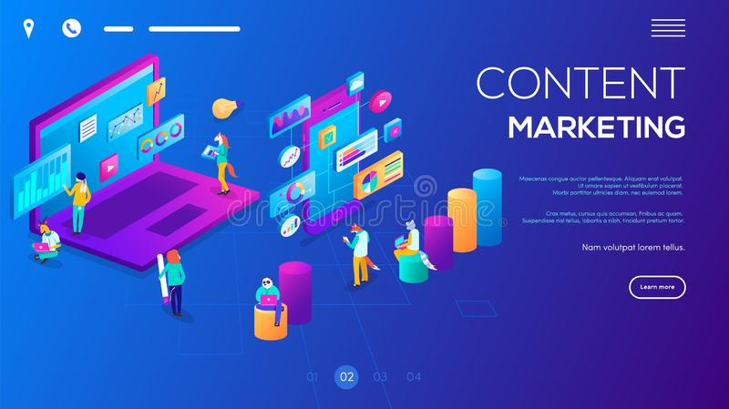 Isometric 3D website app landing web page template. Webinar, online video training, tutorial podcast concept. Students e-learning by webinar training and stock illustration