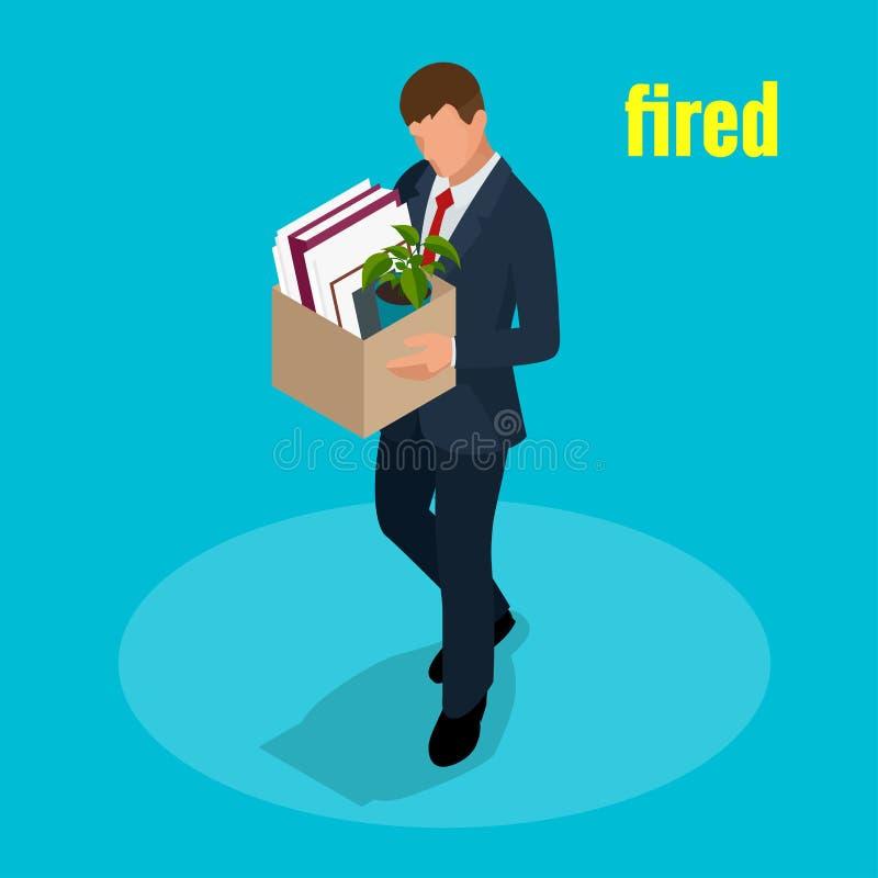 Isometric 3d wektorowi ilustracyjni ludzie Odprawiali smutnego mężczyzna przewożenia pudełko z jej rzeczy dymisją, bezrobocie, be ilustracji