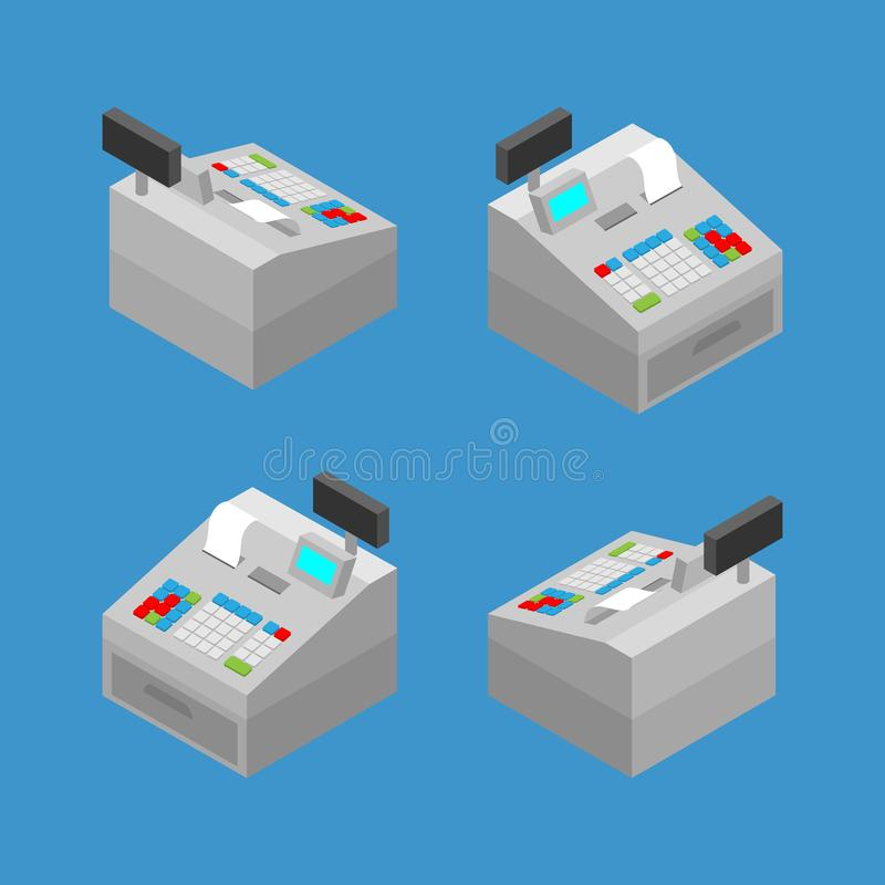 Isometric 3d of white grey cash register machine to give convenience service for customer, who come to shopping at the store. vector illustration