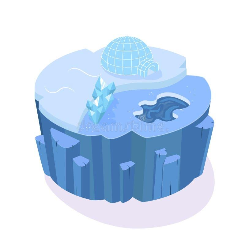 Isometric 3D wyspy gra z śnieżystym krajobrazem ziemia, royalty ilustracja