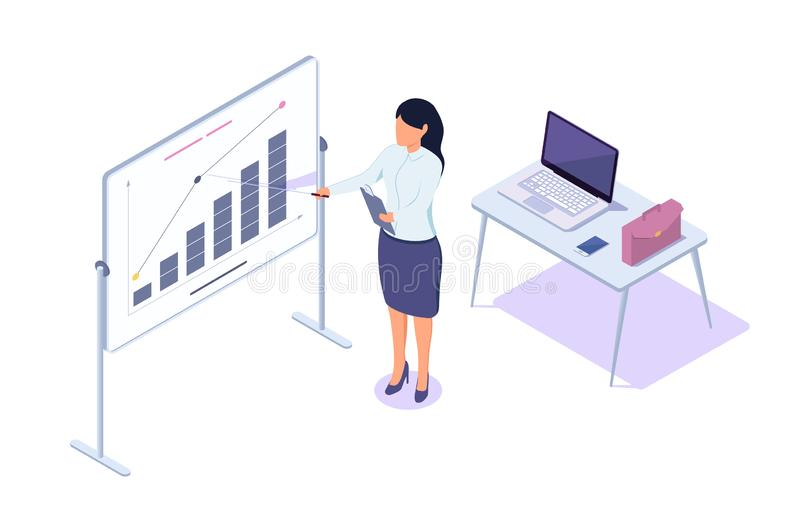 Isometric 3d young businesswoman presentation success statistic with laptop and diagram. royalty free illustration