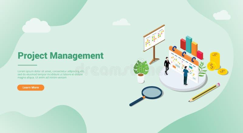 Isometric 3d zarządzania projektem pojęcie dla strona internetowa szablonu sztandaru homepage lub lądowania - wektor ilustracji