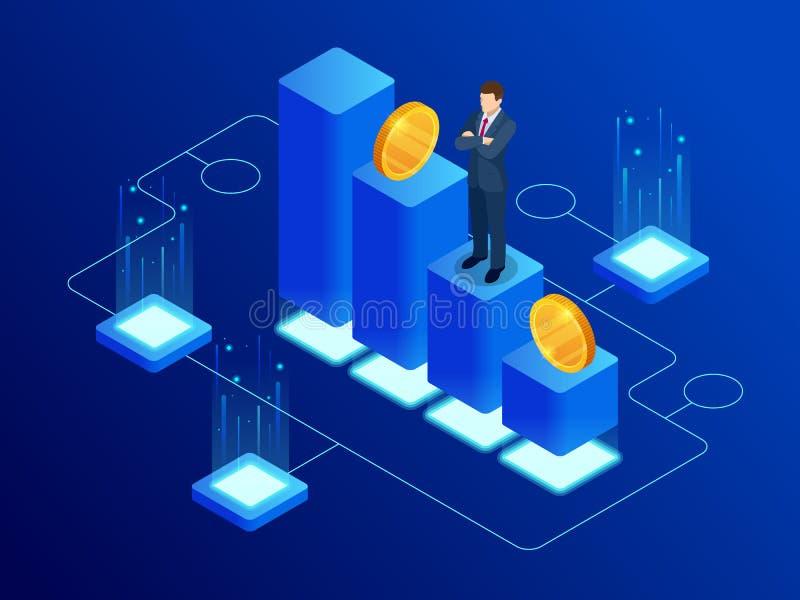 Isometric dane analityka i Online statystyki pojęcie Cyfrowej wymiana walut Cyfrowego pieniądze rynek, inwestycja ilustracja wektor