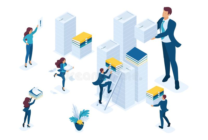 Isometric Data collection for reporting, audit company in tax period. Concept for web design.  vector illustration