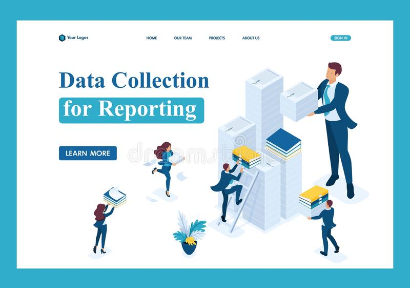 Isometric Data collection for reporting, audit vector illustration