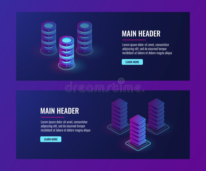 Isometric data flow processing concpet vector, server room, data center and database banner. Web hosting, dark ultra violet neon stock illustration