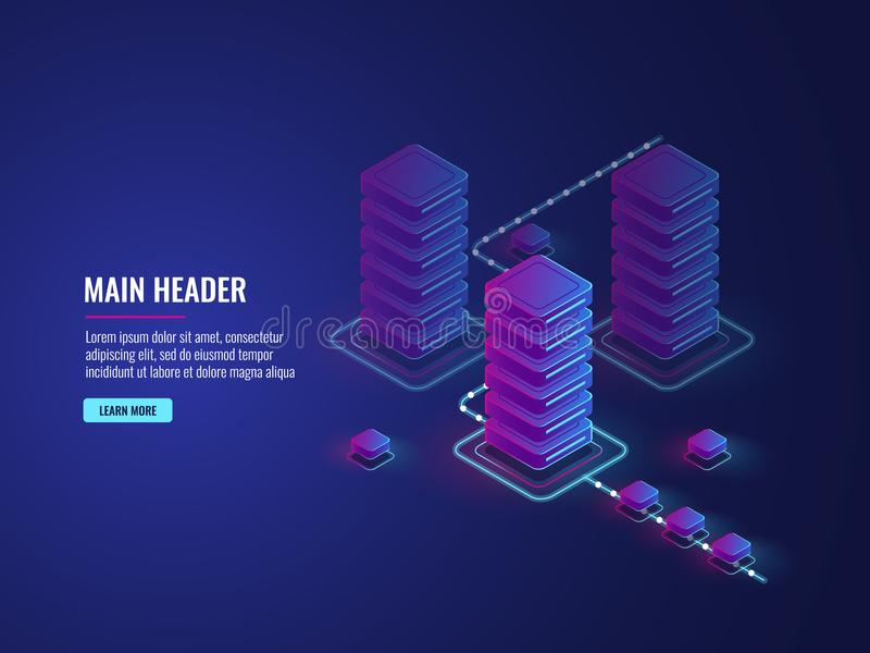 Isometric data flow processing, data protection and encryption process, server room, data center and database. Concept vector dark ultra violet neon vector illustration