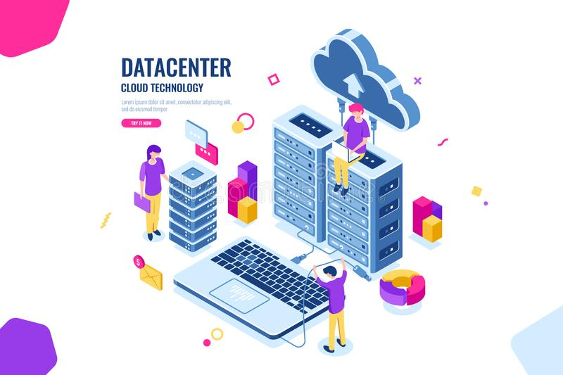 Isometric data security, computer engineer, data center and server room, cloud computing, people working together stock illustration