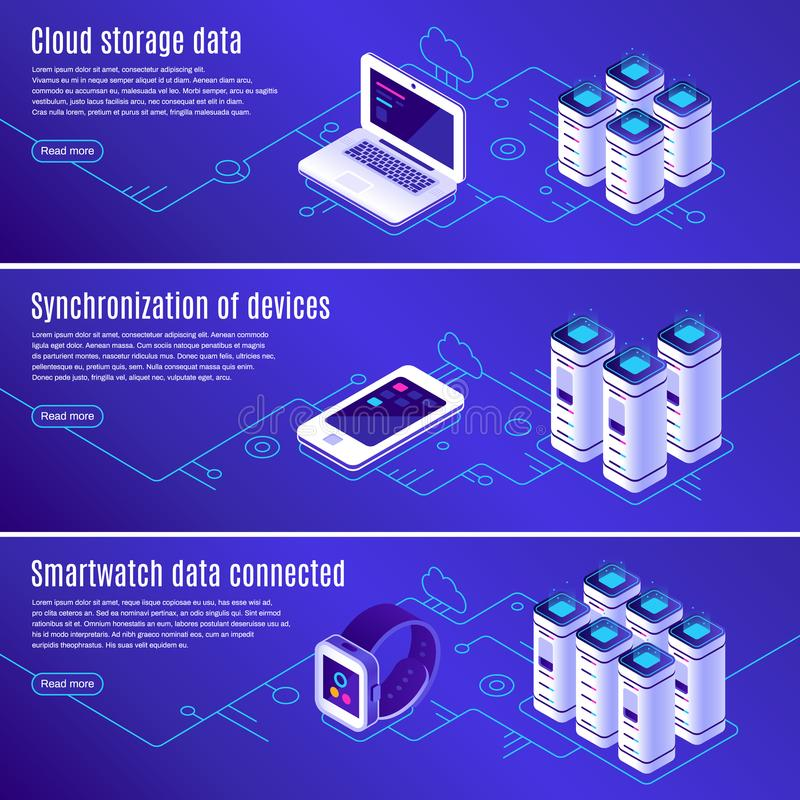 Isometric database. Computer, laptop and smartphone connected to cloud online data storage. Secure access to backup vector illustration