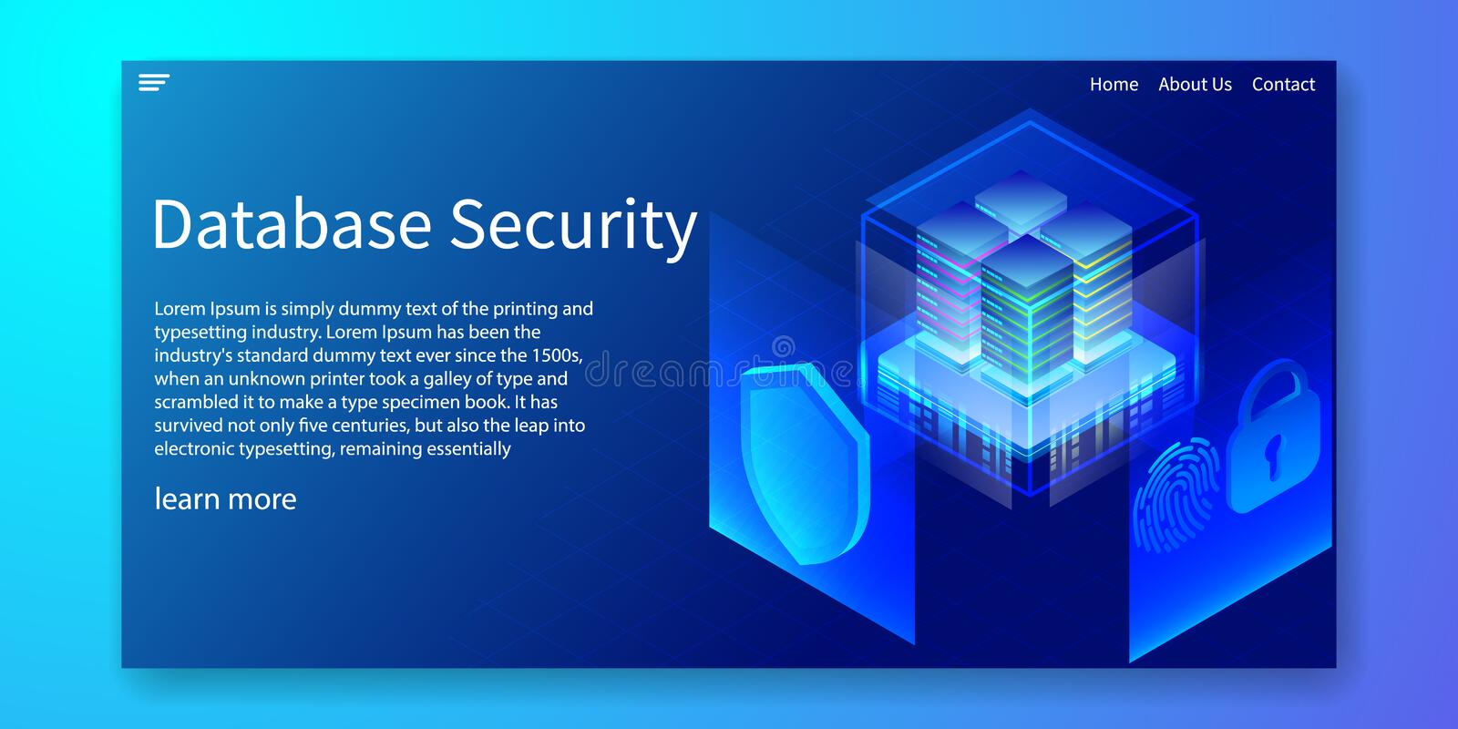 Isometric Database Security, Server Protection System by Biometrics identification concept, fingerprints, Web template, vector stock illustration