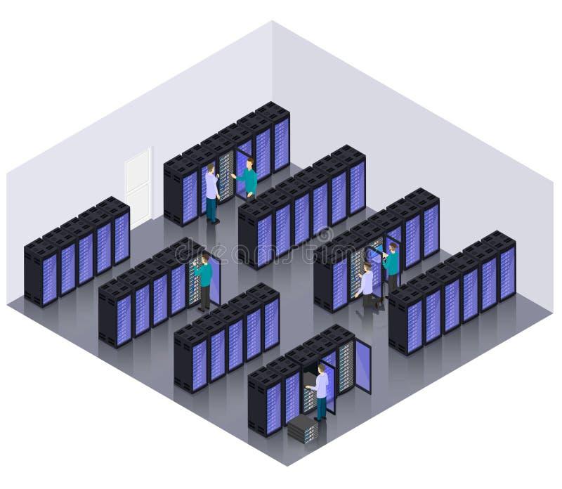 Isometric Datacenter Hosting Servers Room Concept vector illustration