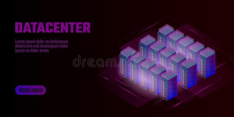 Isometric datacenter pojęcia obłoczny oblicza składowy sztandar Jest usytuowanym gościć dużych dane - przetwarzać stojaka czynsz  royalty ilustracja