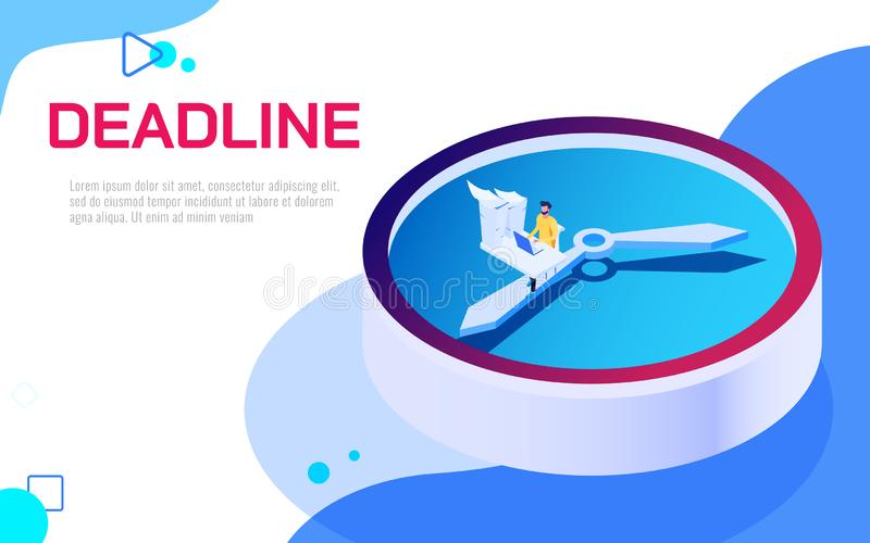 Isometric deadline time is running out concept. Business man work hard and overload under pressure on big clock in urgent deadline. Vector Illustration royalty free illustration