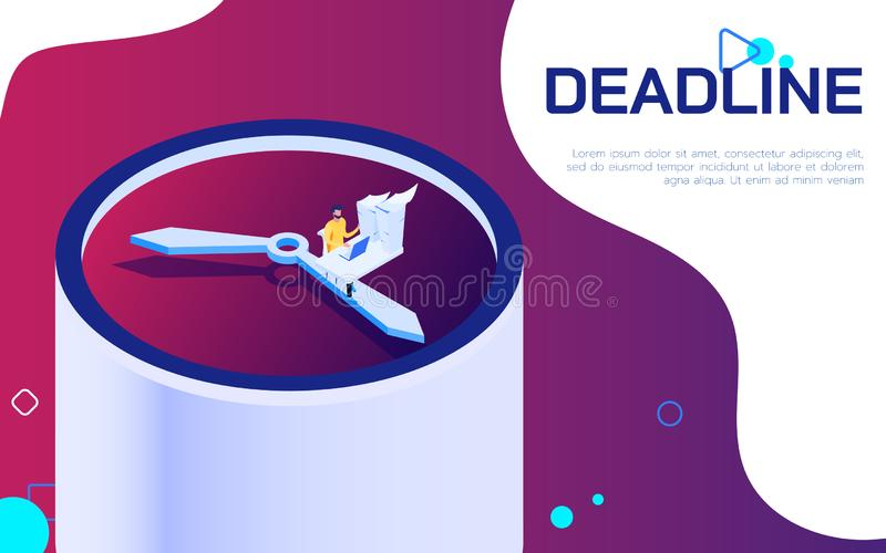 Isometric deadline time is running out concept. Business man work hard and overload under pressure on big clock in urgent deadline. Vector Illustration vector illustration
