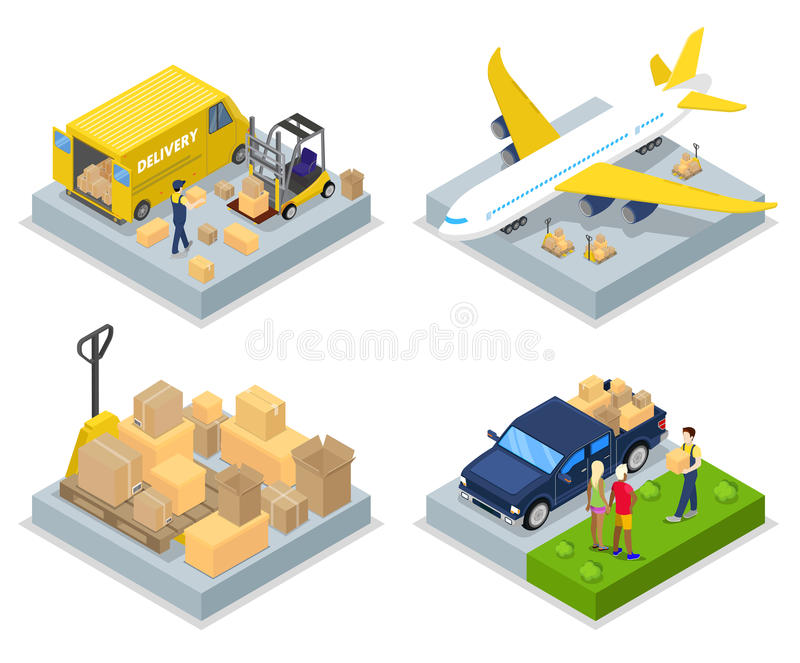 Isometric Delivery Concept. Worldwide Shipping. Air Cargo, Freight Transportation royalty free illustration