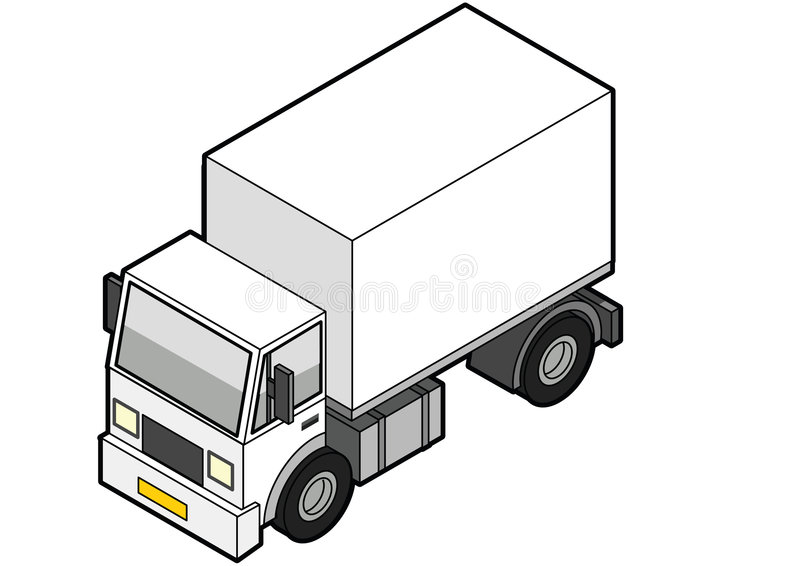 Isometric Delivery Truck royalty free illustration