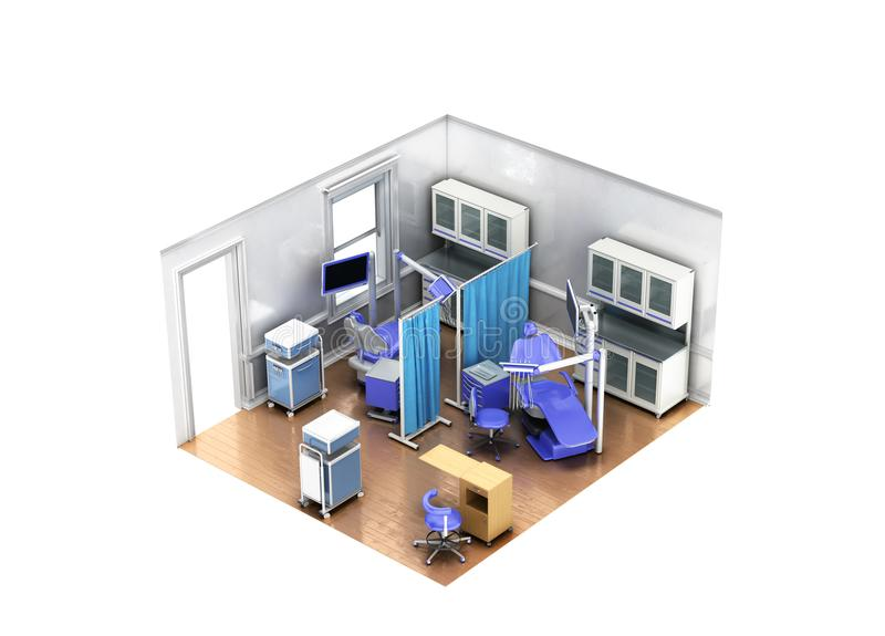 Isometric dentist office blue 3d rendering on white background n stock photography