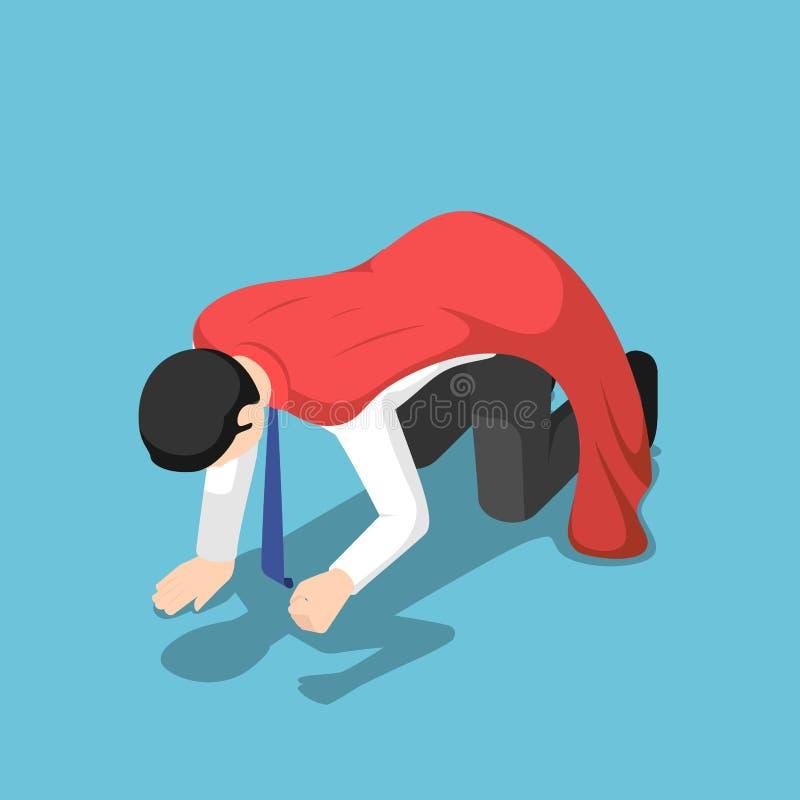 Isometric depressed super businessman kneeling on the floor vector illustration
