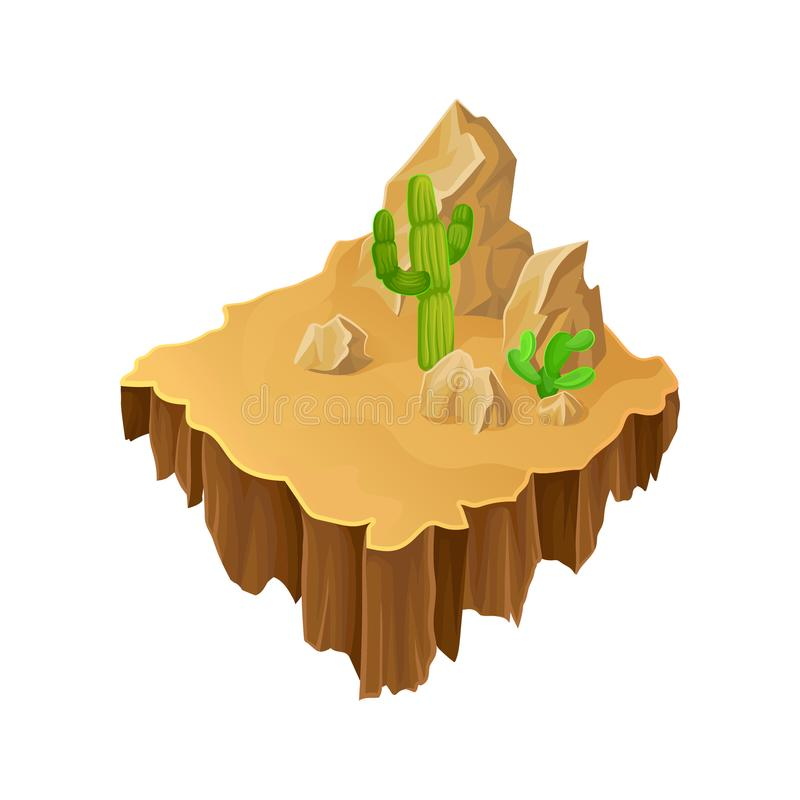 Isometric desert landscape. Floating island stone rocks and green cacti. Vector design for computer or mobile game royalty free illustration
