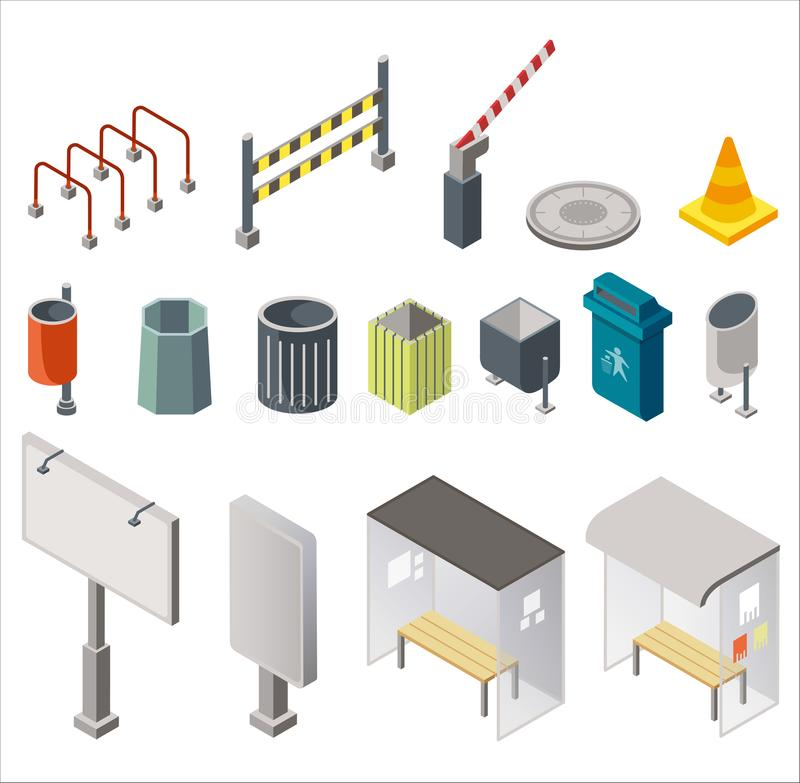 Isometric design of arranged set with urban trash cans, signboards with bus stops, restriction signs isolated on white royalty free illustration
