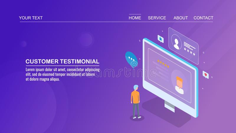 Isometric design concept of customer testimonial, business rating, client feedback, evaluation. Audience reading customer testimonial of a business on a vector illustration