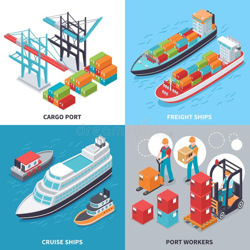 Sea Port 2x2 Design Concept. Isometric 2x2 design concept with freight and cruise ships and sea port workers isolated on colorful background 3d vector vector illustration