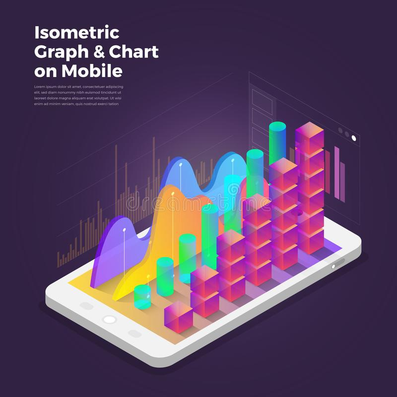 Isometric design concept mobile application analytics tools. Vector illustrations. royalty free illustration