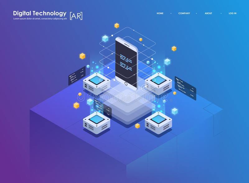 Isometric design concept virtual reality and augmented reality. AR and VR Development. Digital Media Technology for. Isometric design concept virtual reality and royalty free illustration
