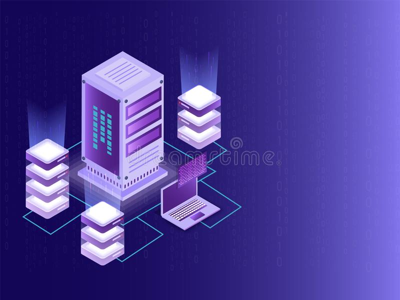Isometric design for Data Center, big data server and local servers connected with laptop on matrix coding background. royalty free illustration