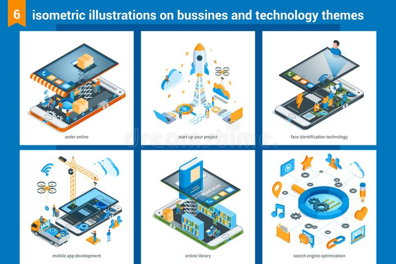 Isometric bussiness and technolodgy illustrations 02 stock illustration