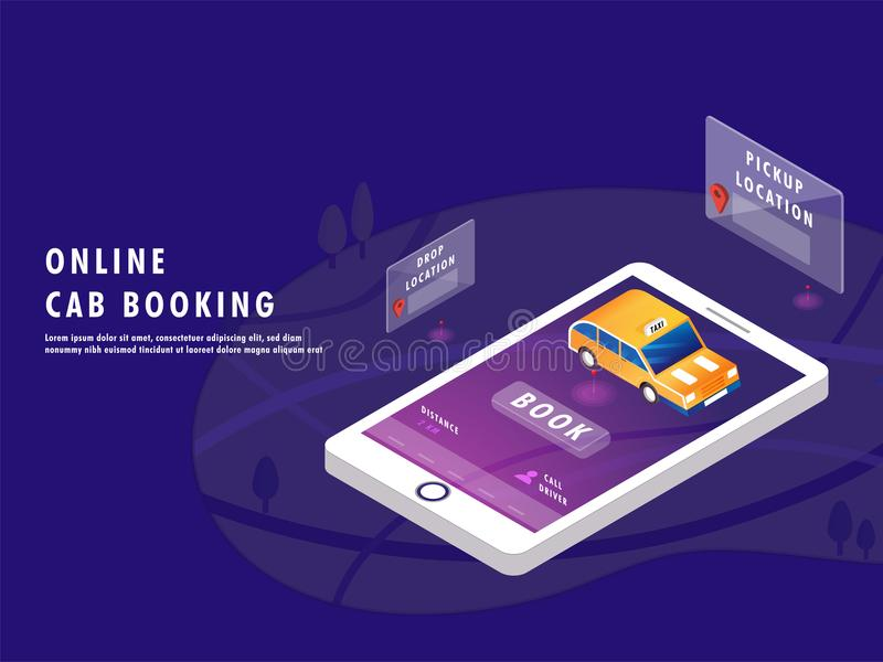 Isometric design of Online cab service app in smartphone with pi. Ck up and drop location for Online Cab Booking landing page or web template concept stock illustration