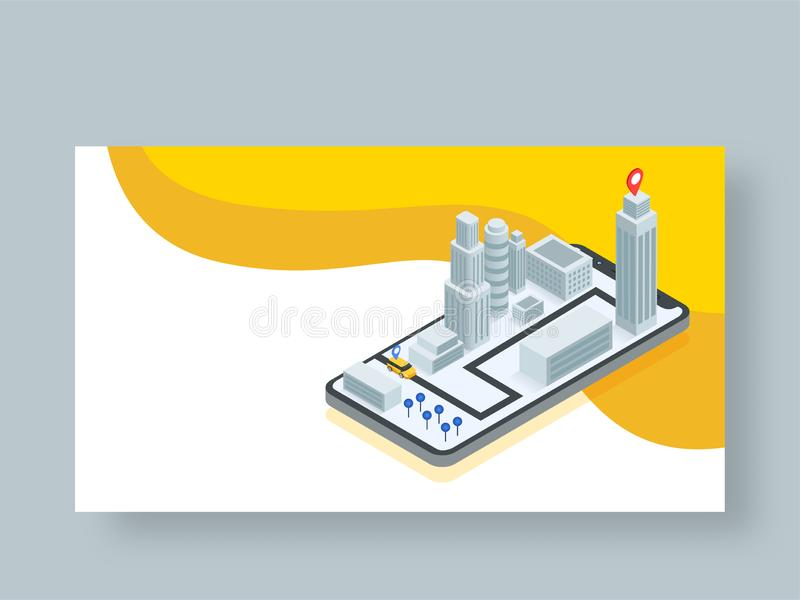 Isometric design of Online cab service app in smartphone. Isometric design of Online cab service app in smartphone with pick up and drop location for Online Cab vector illustration