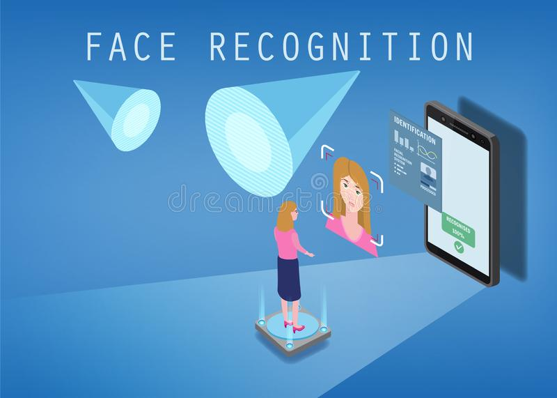 Isometric design. The smartphone scans the face of a person. Biometric identification, female. The smartphone scans the. Isometric design. The smartphone scans stock illustration