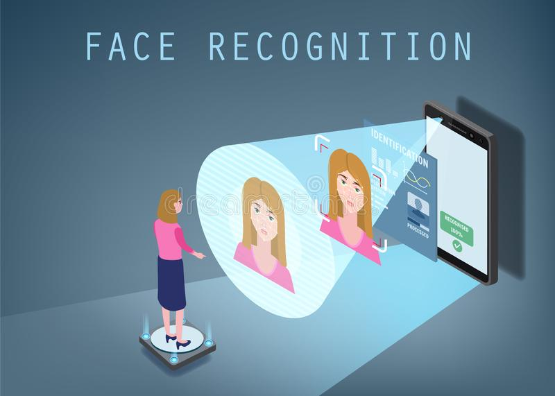 Isometric design. The smartphone scans the face of a person. Biometric identification, female. The smartphone scans the. Isometric design. The smartphone scans royalty free illustration