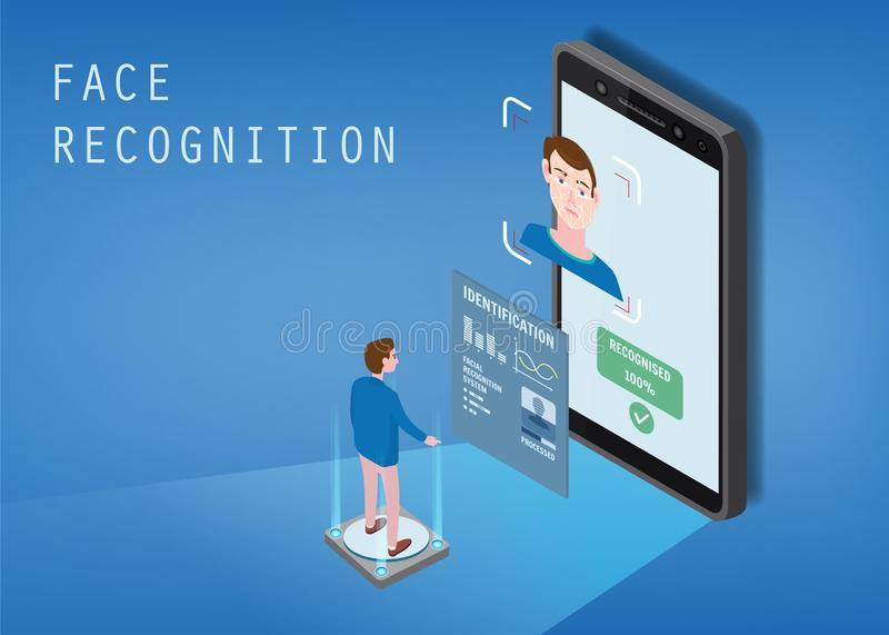 Isometric design. The smartphone scans the face of a person. Biometric identification, male. The smartphone scans the. Isometric design. The smartphone scans the royalty free illustration
