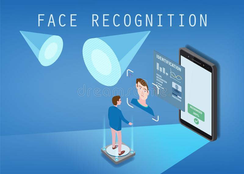 Isometric design. The smartphone scans the face of a person. Biometric identification, male. The smartphone scans the. Isometric design. The smartphone scans the vector illustration