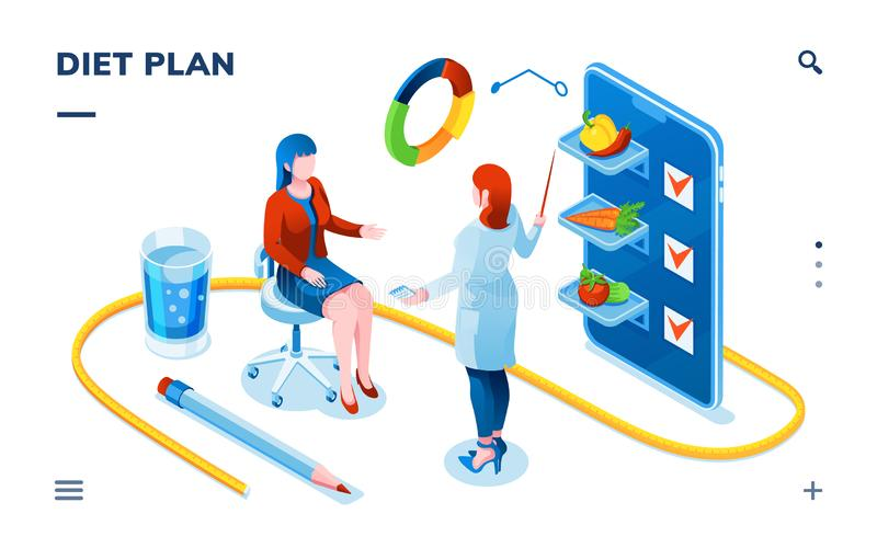 Isometric dietician and woman patient for diet app stock illustration