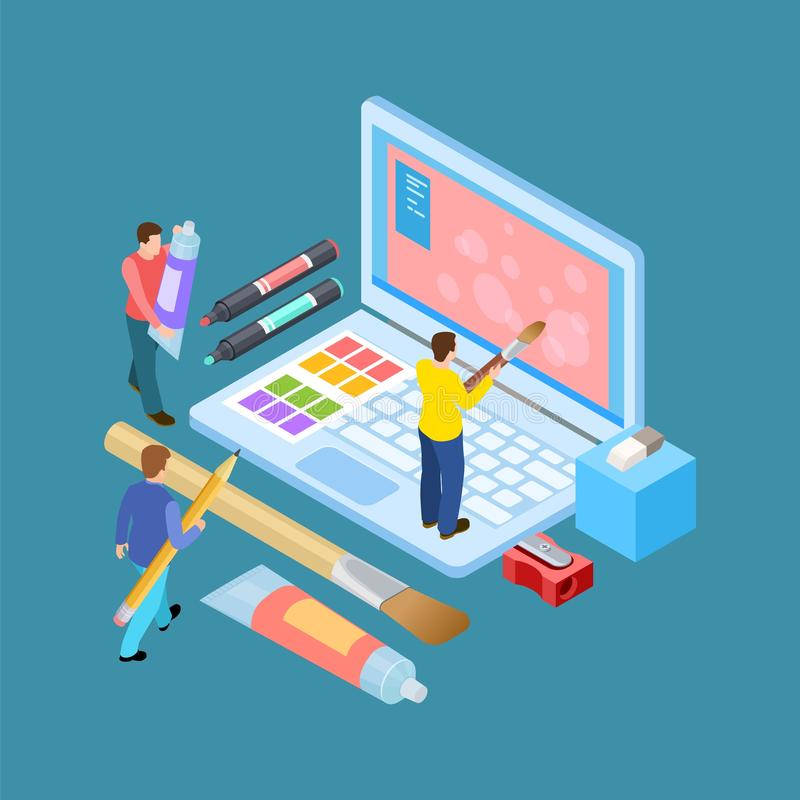 Isometric digital artists vector concept. Designers, brushes, notebook and stationery illustration vector illustration