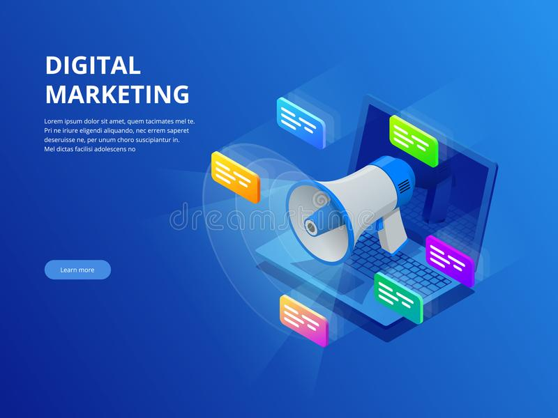 Isometric digital marketing, business marketing, success and goals, new startup project concept. stock illustration