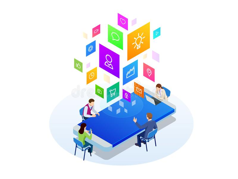 Isometric digital marketing strategy concept. Online business, internet marketing idea, office and finance objects stock illustration