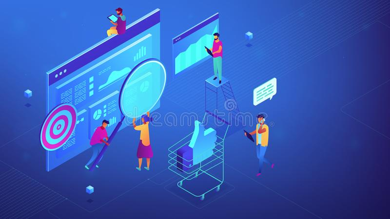 Isometric digital marketing strategy team illustration. stock illustration