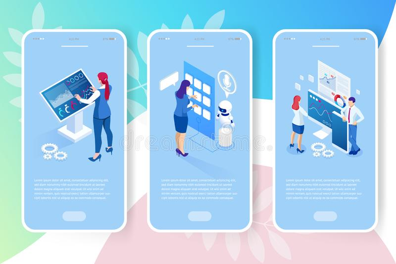 Isometric digital monitor with infographics. Female standing at the big display. Concept of business assistance. Interactive Information Kiosk, Advertising royalty free illustration