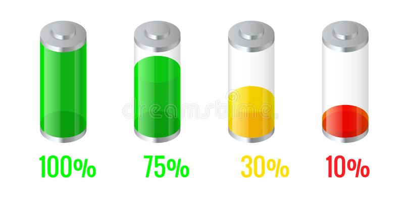 Isometric discharged and fully charged battery energy for mobile phone. Battery charge indicator icons. Accumulator. Indicator royalty free illustration