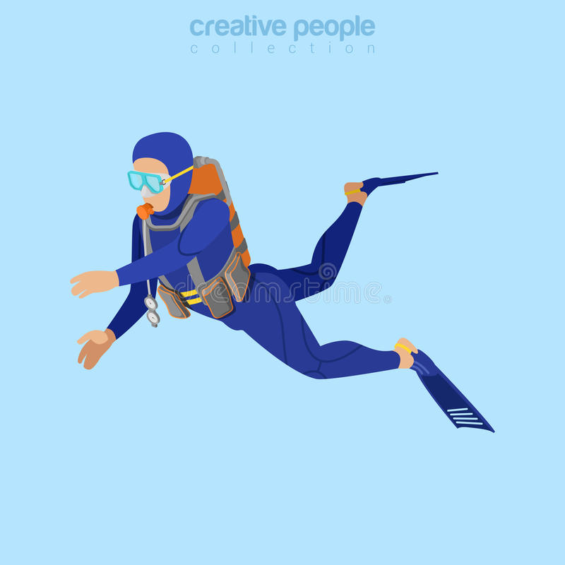 Free Isometric Diver In Aqualung. Flat 3d Isometry. Cre Stock Photos - 73370233
