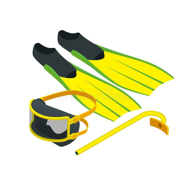 Isometric Diving equipment. Aqualung mask tube and flippers for diving vector illustration isolated on white background royalty free illustration