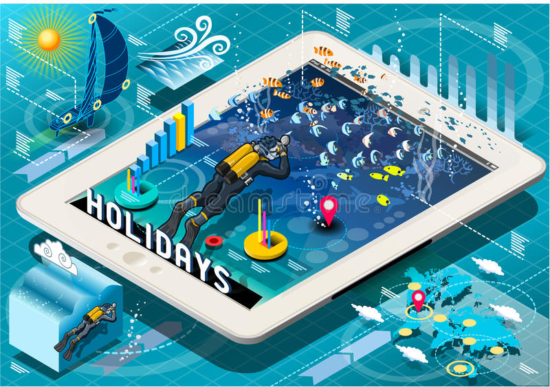 Isometric Diving Holidays Infographic on Tablet. Detailed illustration of a Isometric Diving Holidays Infographic on Mobile Tablet This illustration is saved in royalty free illustration